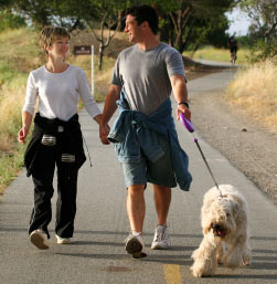 Couple has briskly walked dog for sometime